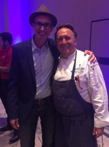 David Stone, Founder of Greater Good Realty with Head Chef at The Marine Room in La Jolla Shores, Chef Bernardo.